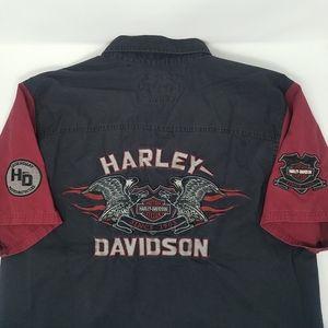 Harley Davidson Work Button Shirt Logo Large Shop